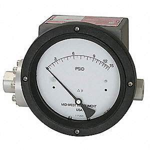 "1/4"" FNPT Differential Pressure Gauge with 4-1/2"" Dial, 0 to 100 psi, 316 Stainless Steel"