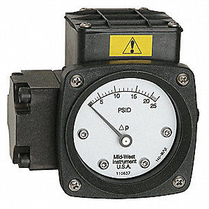 Pressure Gauge,0 to 10 psi