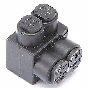 "1.25""L 2-Port Insulated Multitap Connector, Single-Sided Entry, L, 4 AWG Max. Conductor Size"