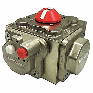 "8-47/64"" x 8-47/64"" x 6-7/64"" Nickel Plated Compact Pneumatic Actuator, 0.40 sec. Cycle Time"
