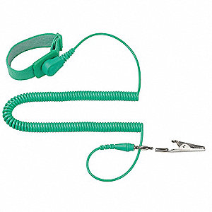 ESD Wrist Strap,Adjustable,10 ft L,Green