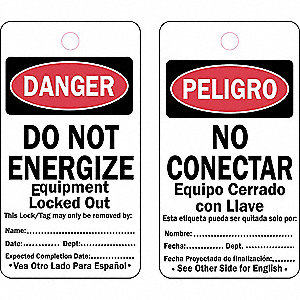 "Danger Bilingual Tag, Cardstock, Do Not Energize Equipment Locked, 5-3/4"" x 3"", 25 PK"
