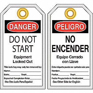 "Danger Bilingual  Tag, Polyester, Do Not Start Equipment Locked Out, 6"" x 3-1/8"", 25 PK"