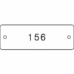 "Numbered Tag, Plastic, Rectangle, Height: 1"", Width: 3"", Black/White"