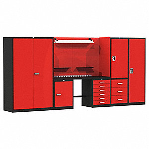 "Modular Cabinet Set, 12 ga. Steel Work Surface, 132""W x 24""D x 78""H"