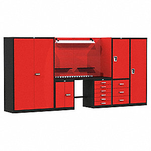 "Modular Cabinet Set, 12 ga. Steel Work Surface, 168""W x 24""D x 78""H"