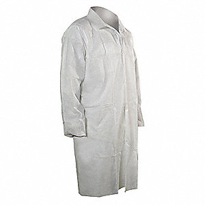 Disp Lab Coat,Polypropylene,White,L,PK25