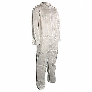 Collared Disposable Coveralls with Open Material, White, XL