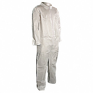 Collared Disposable Coveralls with Open Material, White, L