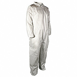 Collared Disposable Coveralls with Elastic Material, White, L