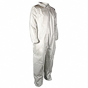 Collared Disposable Coveralls with Elastic Material, White, 2XL