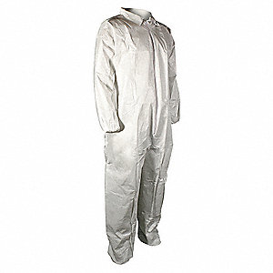 Collared Disposable Coveralls with Elastic Material, White, 3XL