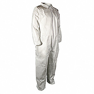 Collared Disposable Coveralls with Elastic Material, White, 4XL