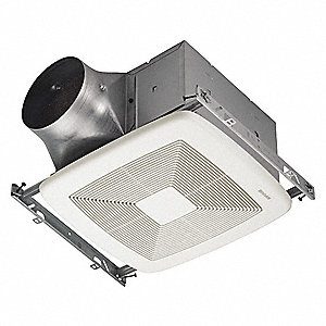 "10-1/2"" x 11-3/8"" x 7-5/8"" Bathroom Fan, 80 CFM, 0.1 Amps"