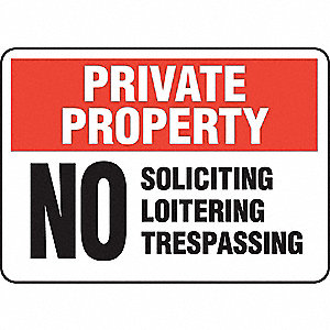 Private Property Sign,Adhsv Vnyl,10x14In