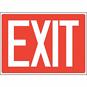 Exit Sign,Adhsv Vinyl,10x14 In.,English