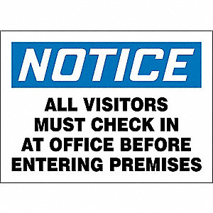 "Employees and Visitors, Notice, Plastic, 7"" x 10"", With Mounting Holes, Not Retroreflective"