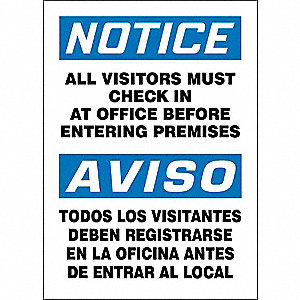 "Spanish-Bilingual Notice Sign,14""x10"""