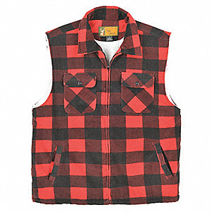 "Red Plaid Insulated Vest,  L,  Poly Fleece,  Fits Chest Size 25-1/2"",  33"" Length,  4 Pockets"