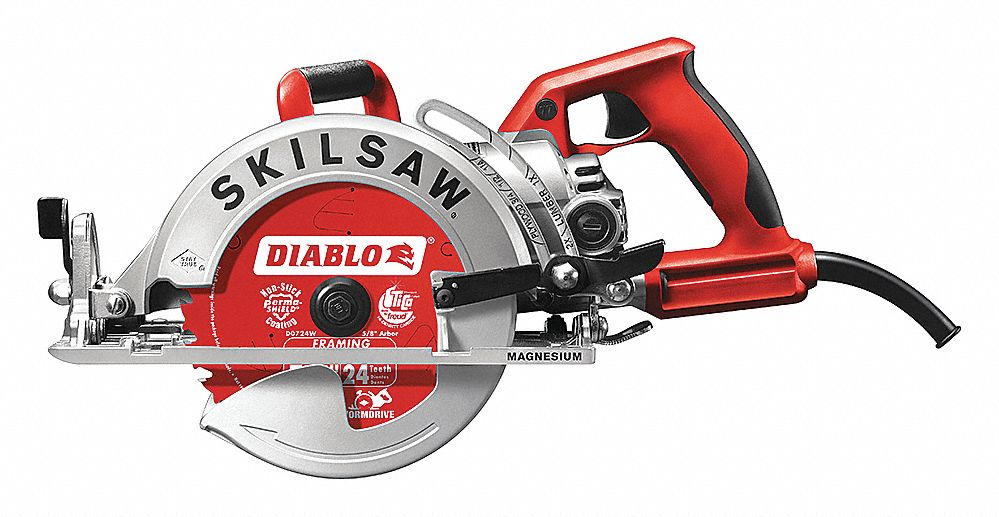 Skilsaw 7 14 worm drive circular saw 4500 no load rpm 150 amps skilsaw 7 14 worm drive circular saw 4500 no load rpm 150 amps blade side left 120vac 22dl18spt77wml 22 grainger greentooth Choice Image