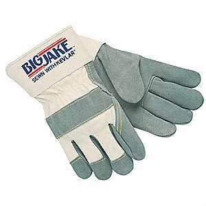 Cowhide Leather Work Gloves, Safety Cuff, Gray, Natural, Size: 2XL, Left and Right Hand