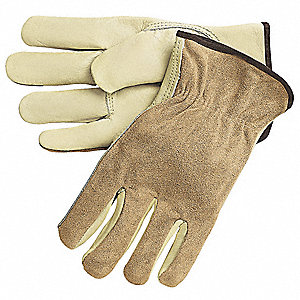 Cowhide Leather Work Gloves, Slip-On Cuff, Cream, Size: L, Left and Right Hand