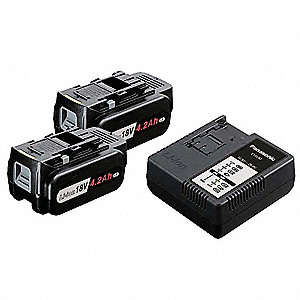 Battery Pack and Charger Kit,18V,Li-Ion