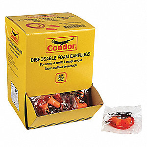 32dB Disposable Bullet-Shape Ear Plugs; Corded, Orange, Universal