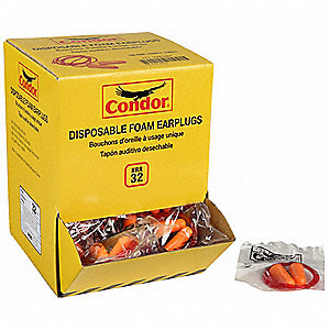 32dB Disposable Bell-Shape Ear Plugs&#x3b; Corded, Orange, Universal