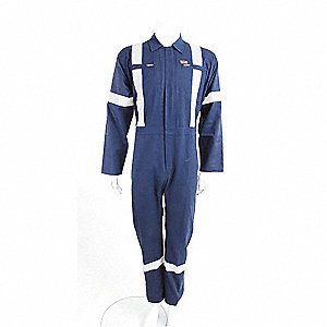 COVERALLS COTTON W/REFLECT NAVY 48