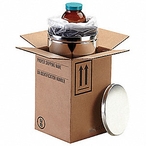 "Kraft Hazardous Material Shipping Kit, 15-1/8""D x 11-1/2""W x 11-1/2"" L , Holds :32 oz. Bottle"