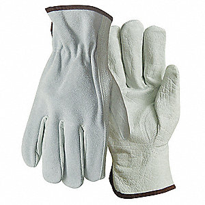 Cowhide Leather Driver's Gloves with Turned Cuff, Gray, XL
