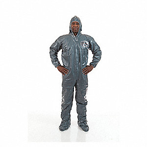 Hooded Chemical-Resistant FR Coveralls with Elastic Wrists Cuff, Dark Green, 2XL, Pyroguard CRFR