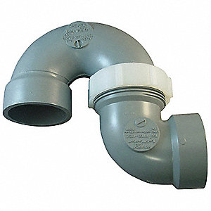 "CPVC Adjustable P-Trap, 1-1/2"" Pipe Size, Hub x Hub Connection Type"