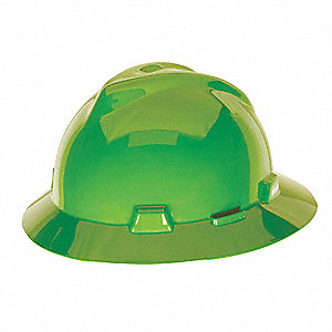 Full Brim Hard Hat, 4 pt. Pinlock Suspension, Lime Green, Hat Size: One Size Fits Most