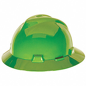 Full Brim Hard Hat, 4 pt. Ratchet Suspension, Lime Green, Hat Size: One Size Fits Most
