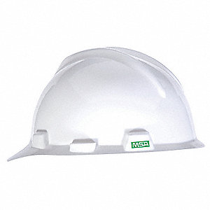 Front Brim Hard Hat, 4 pt. Pinlock Suspension, White, Hat Size: 6 to 7-1/8