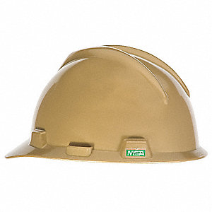 Front Brim Hard Hat, 4 pt. Pinlock Suspension, Gold, Hat Size: One Size Fits Most