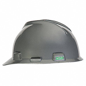 Front Brim Hard Hat, 4 pt. Pinlock Suspension, Silver, Hat Size: 6-1/2 to 8