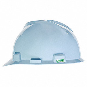 Front Brim Hard Hat, 4 pt. Ratchet Suspension, Robin's Egg Blue, Hat Size: 6-1/2 to 8