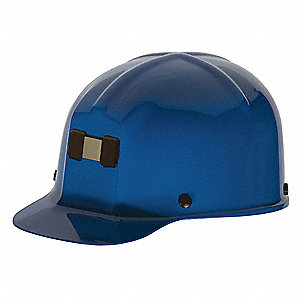 Front Brim Hard Hat, 4 pt. Ratchet Suspension, Blue, Hat Size: 6 to 9