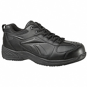 Men's Athletic Style Work Shoes, Composite Toe Type, Leather Upper Material, Black, Size 13M