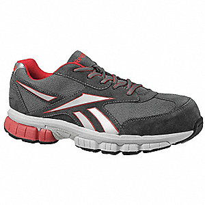 Men's Athletic Style Work Shoes, Composite Toe Type, Leather/Mesh Upper Material, Gray/Red, Size 9W