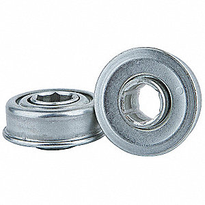 "Zinc Plated Steel Hex Conveyor Bearing with 1.252"" O.D., 7/16"" Bore Dia., and 105 lb. Dynamic Load C"