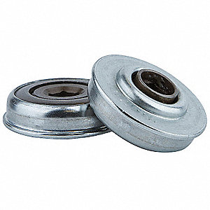 "Zinc Plated Steel Hex Conveyor Bearing with 1.712"" O.D., 7/16"" Bore Dia., and 300 lb. Dynamic Load C"