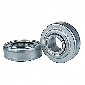 "Zinc Plated Steel Hex Conveyor Bearing with 3.066"" O.D., 1-1/16"" Bore Dia., and 603 lb. Dynamic Load"