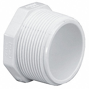 "PVC Plug, MNPT, 3/4"" Pipe Size - Pipe Fitting"