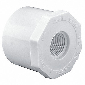 "PVC Reducing Bushing, Spigot x FNPT, 1/2"" x 3/8"" Pipe Size (Fittings)"