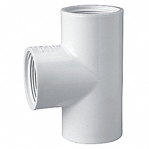 "PVC Tee, FNPT x FNPT x FNPT, 1-1/4"" Pipe Size - Pipe Fitting"