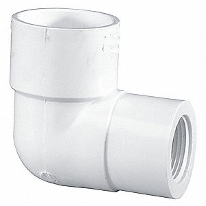 "PVC Reducing Elbow, Socket x FNPT, 1"" x 1/2"" Pipe Size - Pipe Fitting"